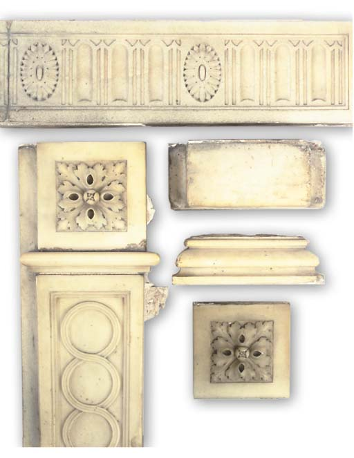 A REGENCY CARVED WHITE MARBLE