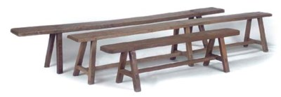 THREE SIMILAR OAK BENCHES
