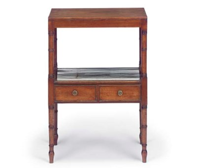 A MAHOGANY TWO TIER WHATNOT