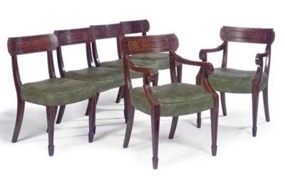 A SET OF SIX MAHOGANY AND EBON