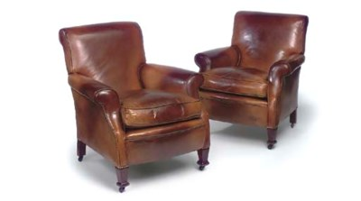 A PAIR OF BROWN LEATHER CLUB A