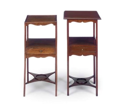 TWO MAHOGANY WASHSTANDS