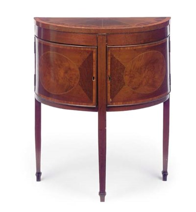 A MAHOGANY AND INLAID DEMI LUN