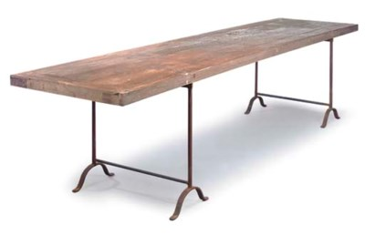 A TEAK REFECTORY TABLE TOP