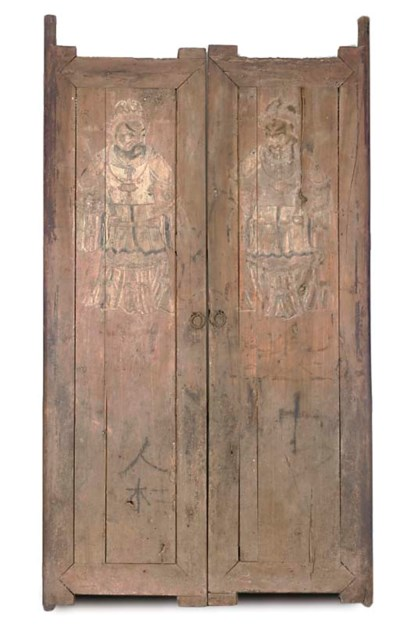 A PAIR OF CHINESE PAINTED WOOD
