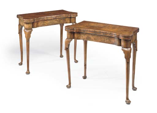 A PAIR OF WALNUT CARD-TABLES