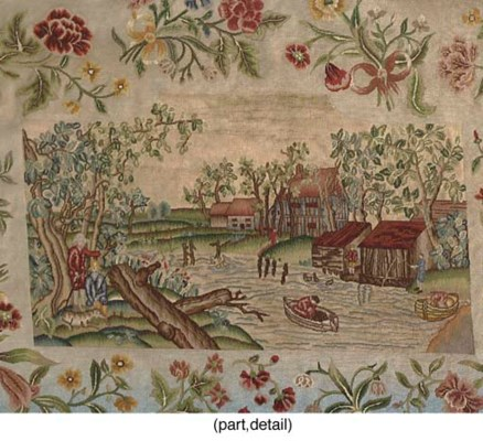 TWO PETIT POINT SOFA COVERS