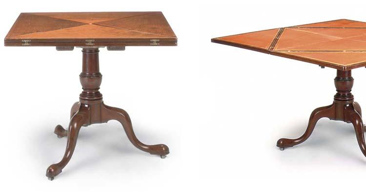 A MAHOGANY ENVELOPE TABLE