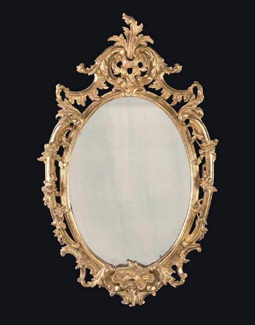 A MID-VICTORIAN GILTWOOD MIRRO
