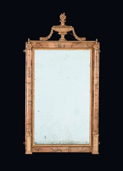 A PAIR OF SIENA MARBLE MIRRORS