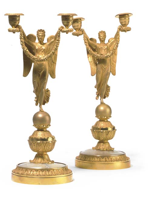 A PAIR OF GILT-BRONZE AND MOTH