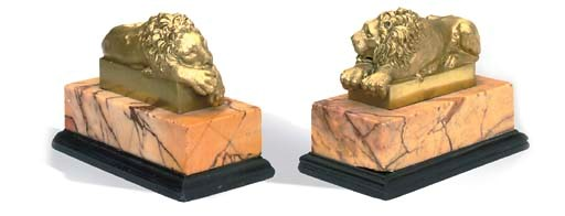 A PAIR OF GILT-METAL MODELS OF