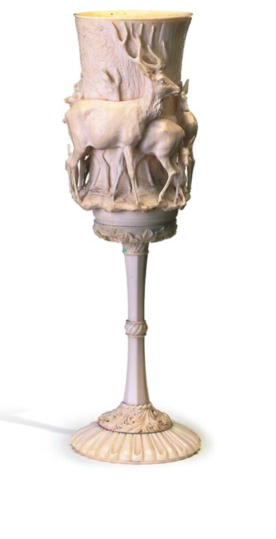 A GERMAN IVORY GOBLET