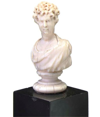 AN ENGLISH IVORY BUST OF A GEN