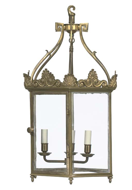 A GILT-LACQUER BRASS HALL LANT