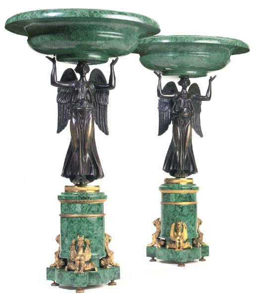 A PAIR OF BRONZE ORMOLU AND MA