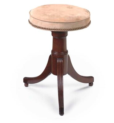 A MAHOGANY PIANO-STOOL