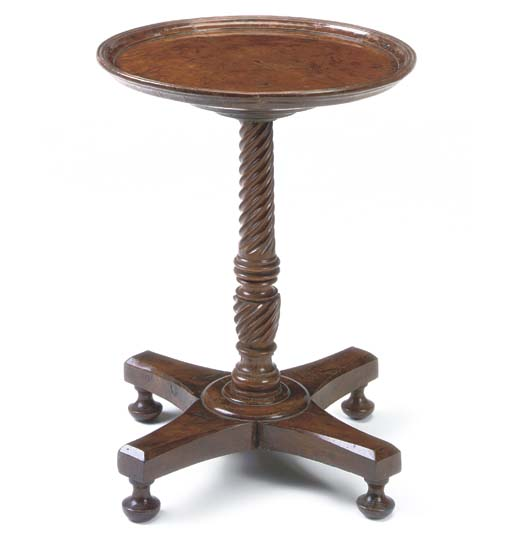 A BURR-YEW PEDESTAL TABLE
