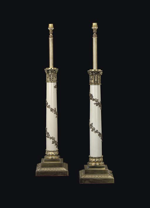 A PAIR OF BRASS-MOUNTED TABLE