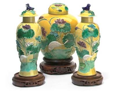 A GARNITURE OF CHINESE YELLOW