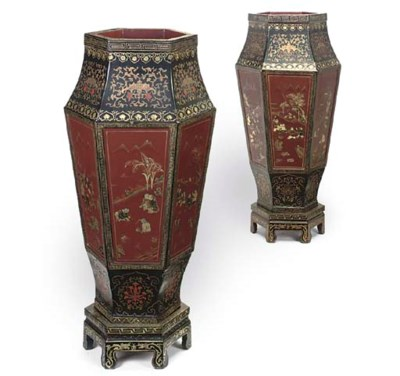 A PAIR OF CHINESE RED, BLACK A