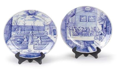 TWO DUTCH DELFT BLUE-AND-WHITE