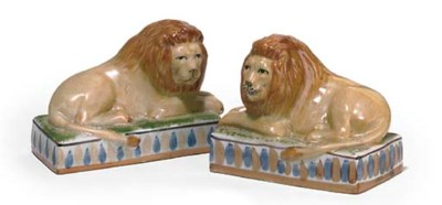 A PAIR OF MODERN POTTERY MODEL