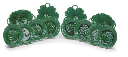 A COPELAND POTTERY GREEN-GROUN