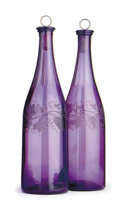 A PAIR OF VICTORIAN AMETHYST-T