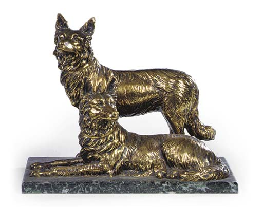 A LACQUERED BRONZE GROUP OF GE