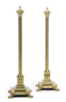A PAIR OF LACQUERED-BRASS STAN