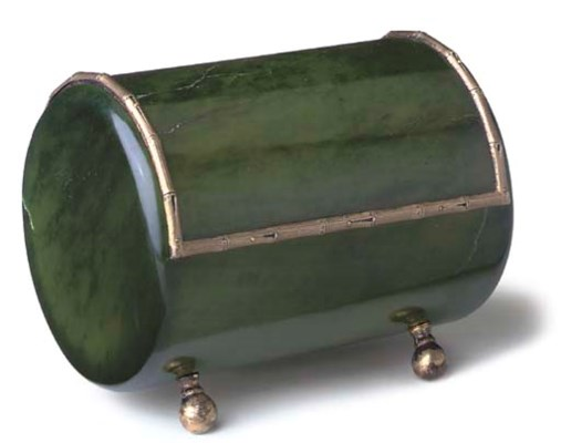 A GREEN HARDSTONE AND SILVER-M