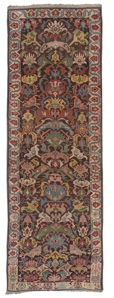 An antique Bidjov long rug, Ea