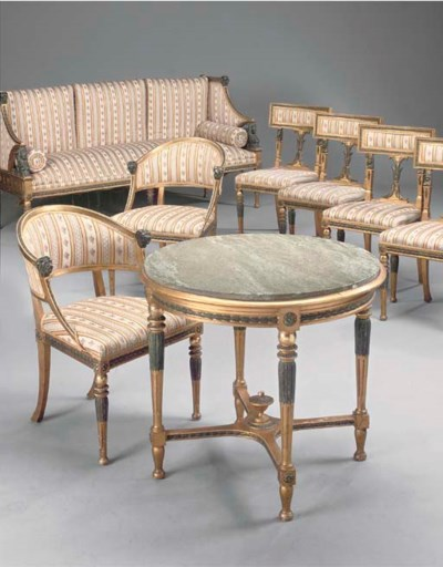 A SWEDISH GILTWOOD AND DARK GR