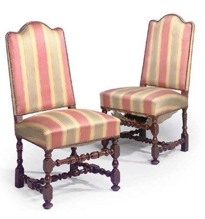 A PAIR OF LOUIS XIV WALNUT SID