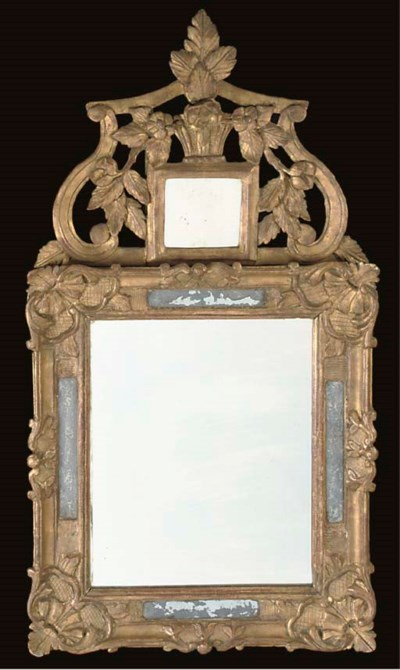 A LOUIS XV CARVED GILTWOOD MIR