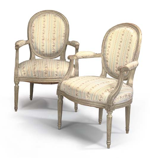 A PAIR OF LOUIS XVI GREY PAINT