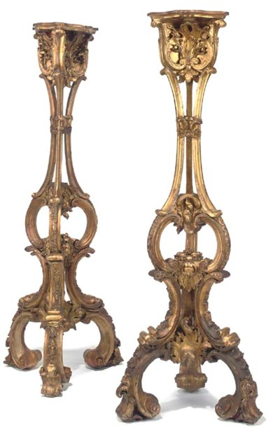 A PAIR OF GILTWOOD AND GESSO T