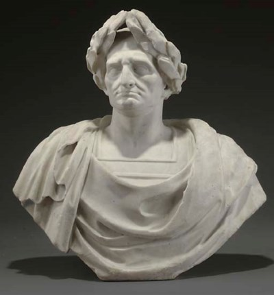 A WHITE MARBLE BUST OF A GENTL