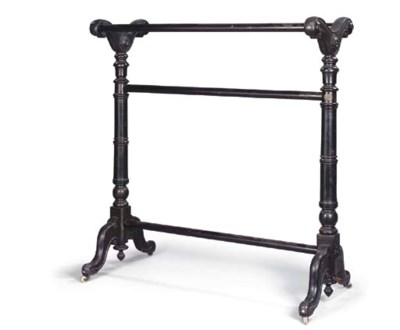 AN EARLY VICTORIAN EBONISED BL