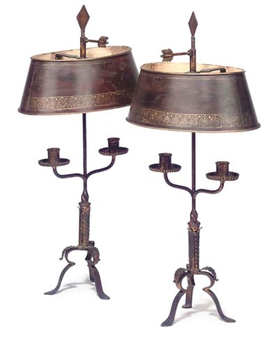 A PAIR OF GILT IRON BOUILOTTE
