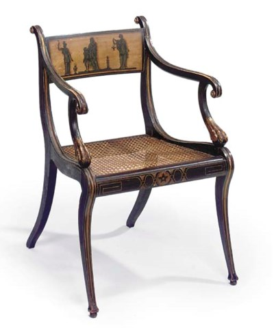 A REGENCY ROSEWOOD-GRAINED AND