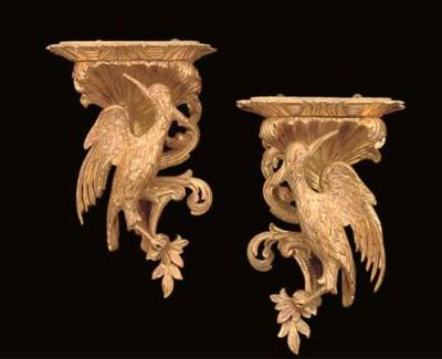 A PAIR OF GILTWOOD BRACKETS
