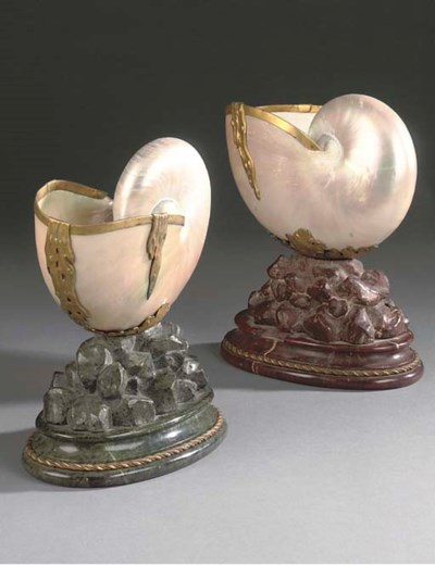 A PAIR OF MOUNTED NAUTILUS SHE