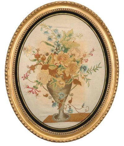 A REGENCY OVAL NEEDLEWORK PICT