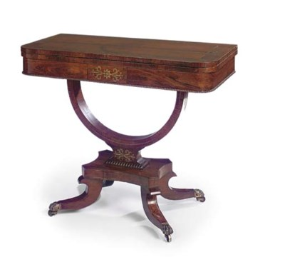 A GEORGE IV ROSEWOOD AND BRASS