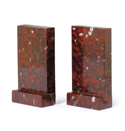 A PAIR OF ROUGE GRIOTTE MARBLE