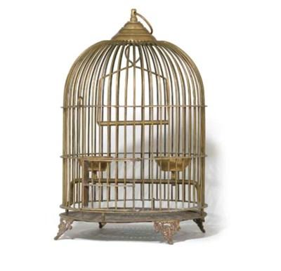 A BRASS WIREWORK BIRD CAGE