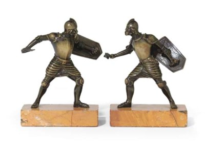A PAIR OF BRONZE FIGURES OF CU