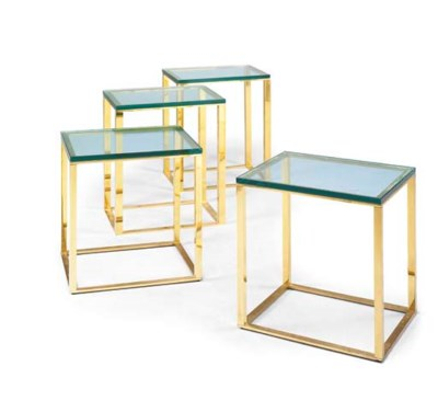 TWO PAIRS OF BRASS AND GLASS S